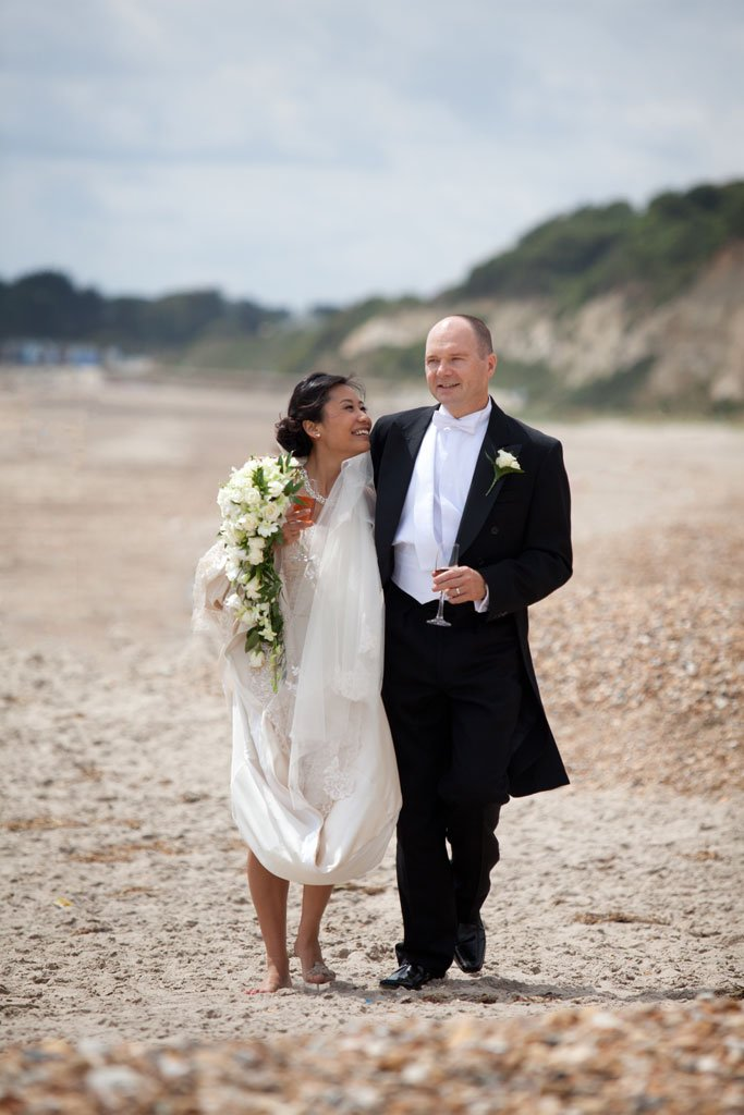 Bride and Groom on Highcliffe castle beach