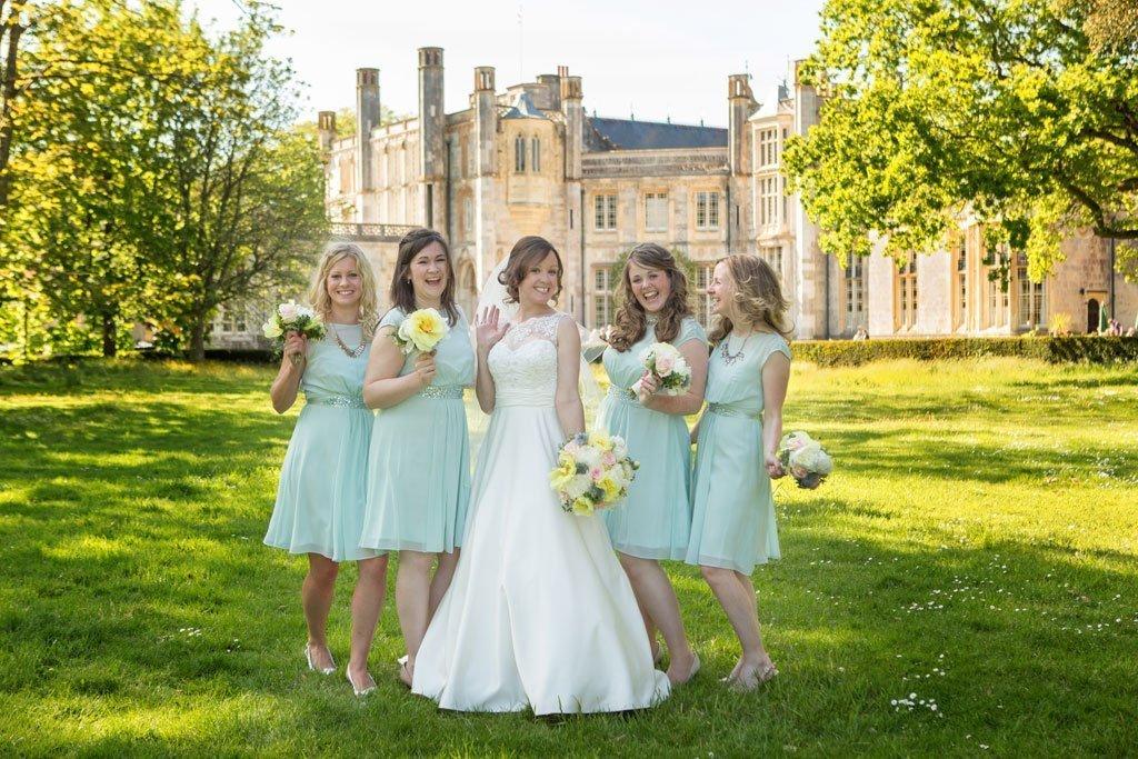 Bridesmaids group shot at a highcliffe castle wedding